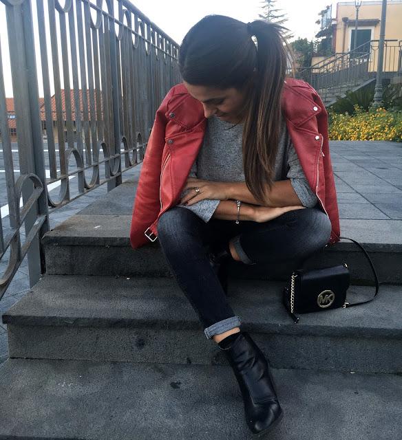 sicilia outfit, biker rosso