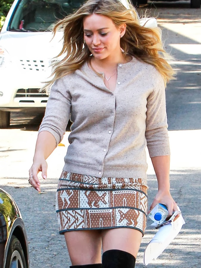 51e8ef6f14c9ff Hilary Duff s on Animal Jacquard Skirt And Sam Edelman Kayla Boots at  Beverly Hills. Her knit pencil skirt features a tribal-inspired animal  jacquard print.