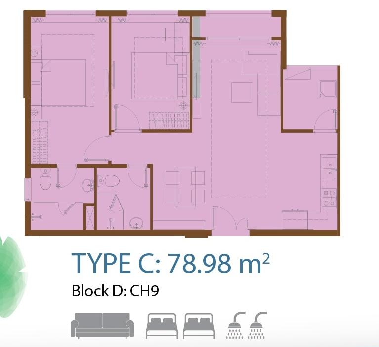 căn hộ centa park 2 phòng ngủ