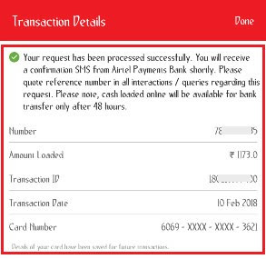 how to load cash in airtel money using credit card