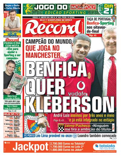 Record 15 De Janeiro De 2005 Benfica Quer Kleberson