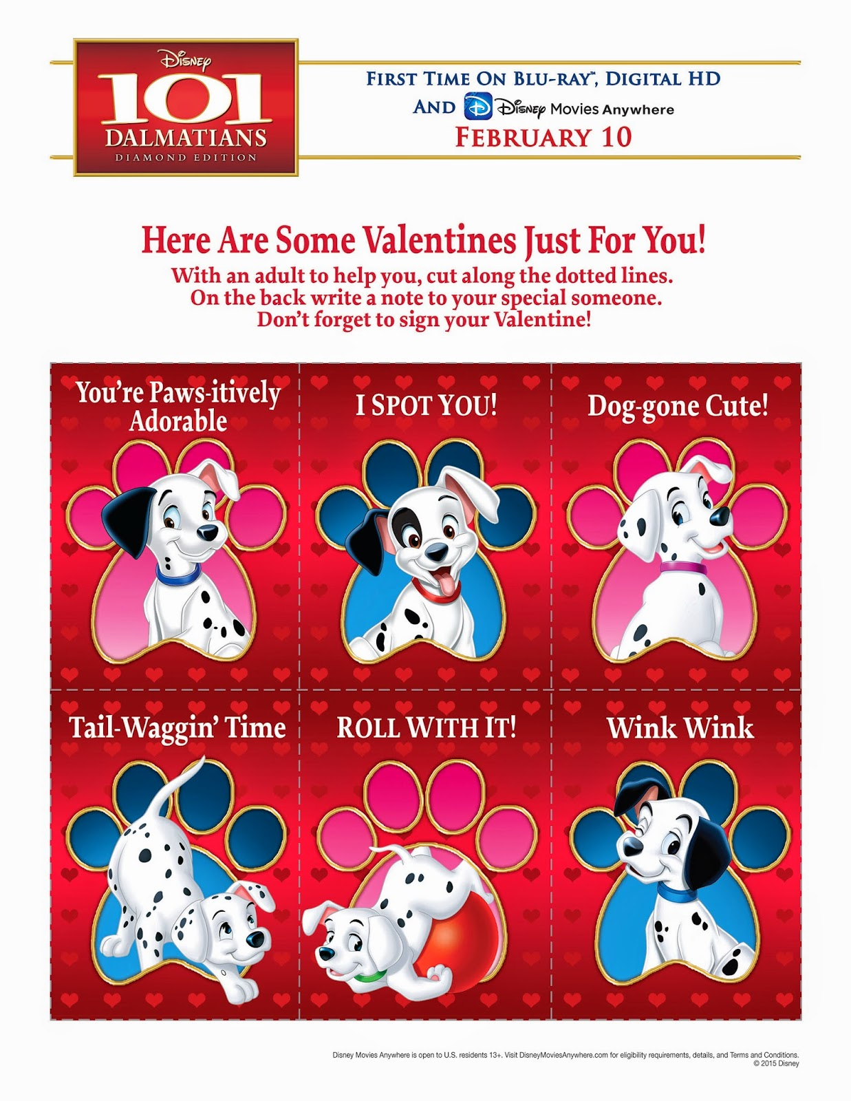 101 Dalmatians Valentines for you! Click to download Printable