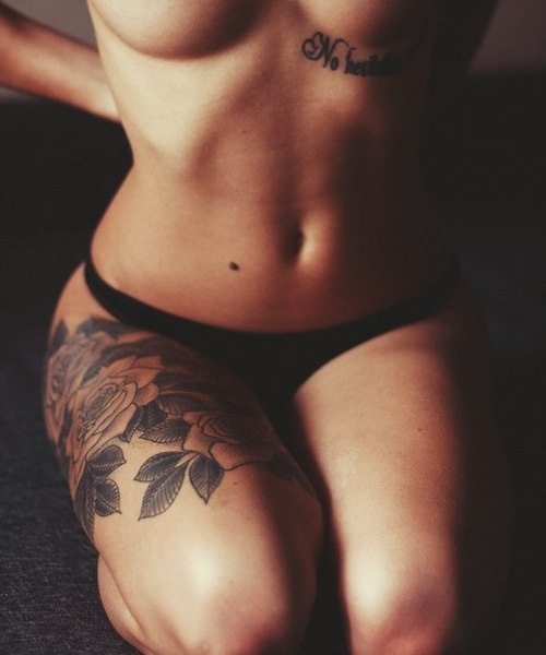 Upper Thigh Roses And Quote Tattoo: Flower Thigh Tattoos