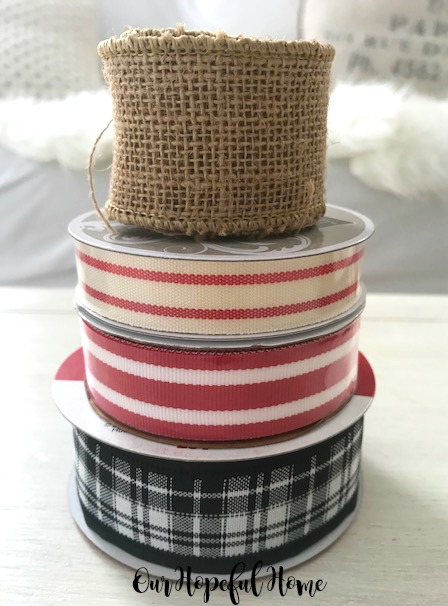 burlap ribbon candy striped ribbon buffalo check ribbbon