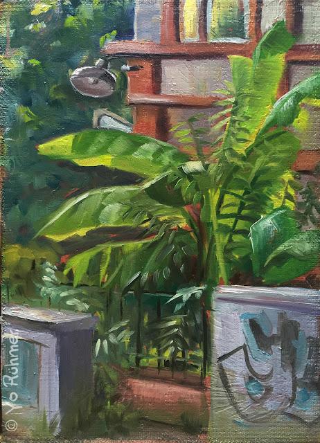 oilpainting, Ölbild, Bananpflanze