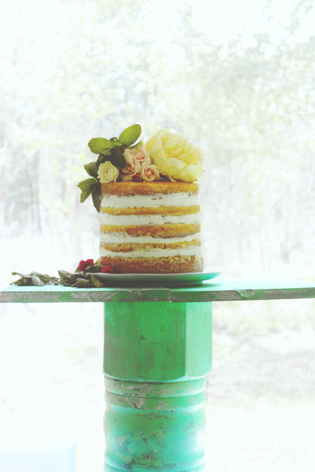 We Lived Happily Ever Afterdiy Layered Naked Wedding Cake For Under 20  We Lived -5442