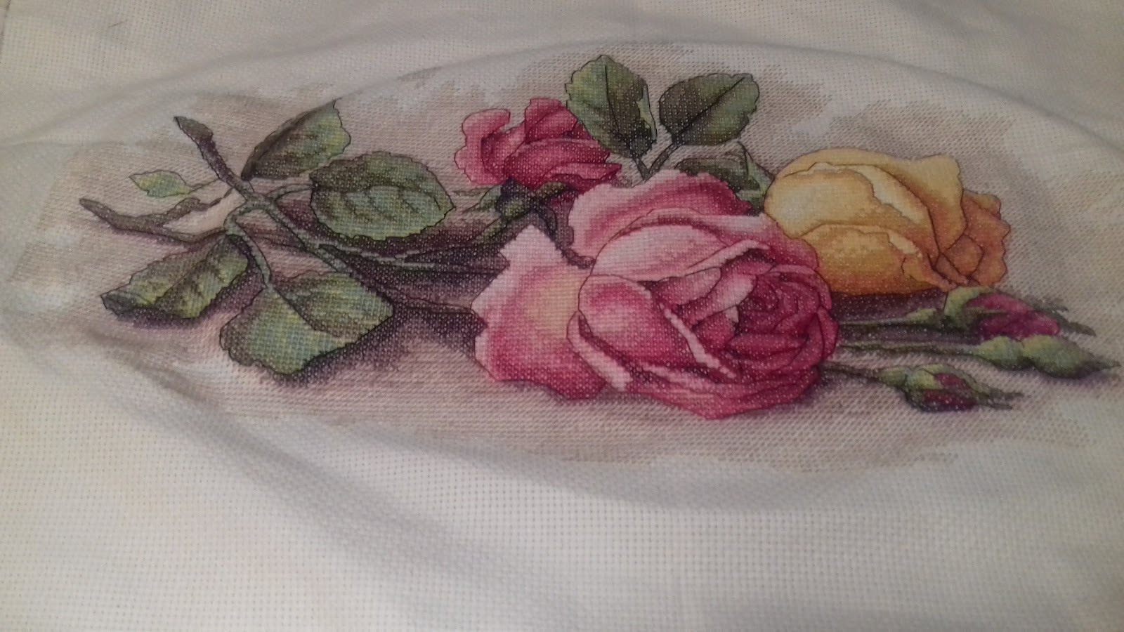 """Dimensions ROSE CUTTINGS COUNTED CROSS STITCH KIT 14/"""" X 9/"""""""