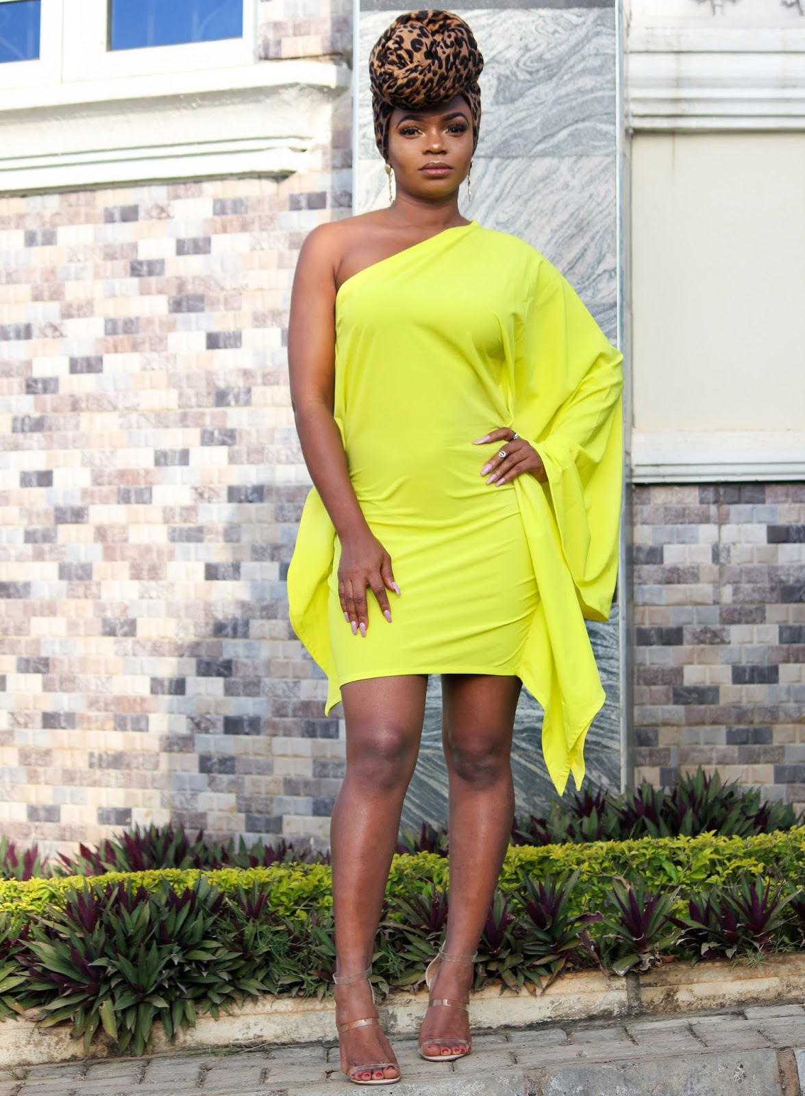 ONE SHOULDER DRESS - One Shoulder Bat-wing Style Dress in Neon from Porshher.