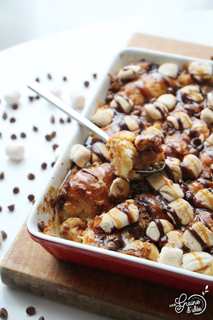 Croissants façon Pain Perdu Chamallows Chocolat Caramel Dessert Douceurs Sucrés Recette Facile Rapide Pas Chère Pas de gâchis Pas de perte