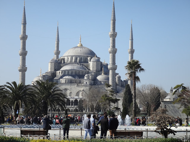 The Blue Mosque or Sultanahmet Camii has become a popular tourist attraction because of blue wall tiles surrounding in the building at Sultanahmet, Istanbul, Turkey