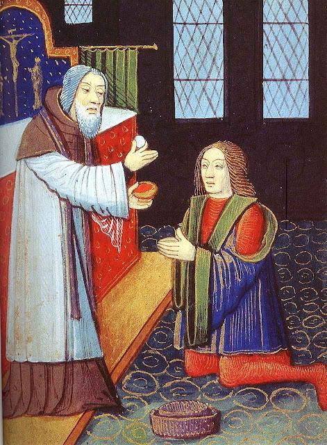 Sacerdote da  a Comunhão a cavaleiro que vai partir para a guerra, século XV