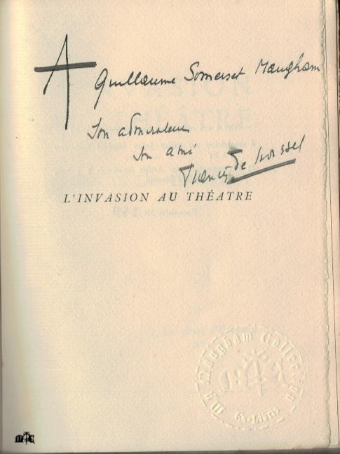 L'invasion au théâtre by Francis de Croisset - dedicated to Maugham
