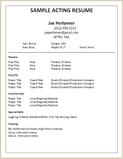 sample theatre resume