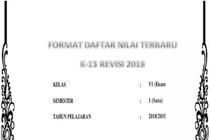 Download Format Daftar Nilai Terbaru Kelas 6 Semester 1 SD Kurikulum 2013 Revisi 2018