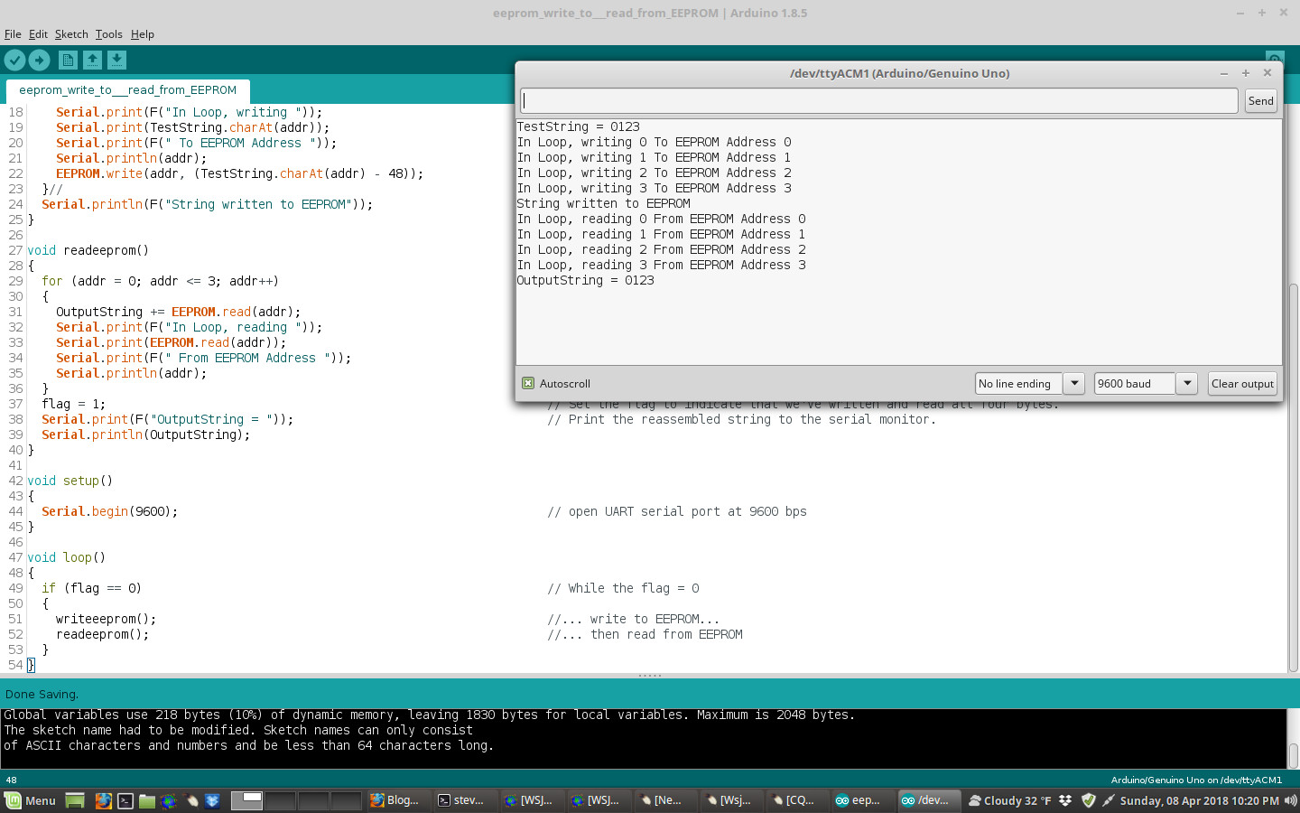 Steve's Eclectic Radio Blog: Arduino - writing and reading a