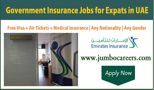 Semi Government office jobs in UAE, UAE Insurance company jobs with free visa and air ticket,