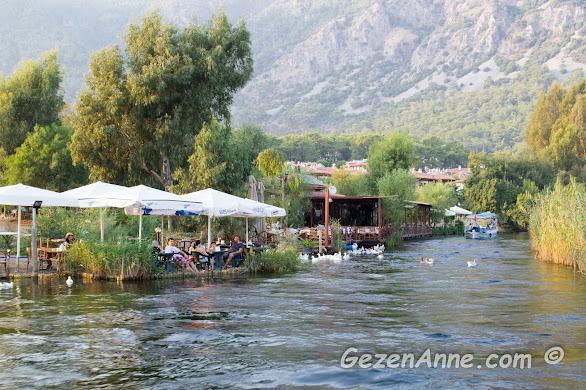 Akyaka azmakta tekne turları, azmak kenarı restoranlar, Muğla