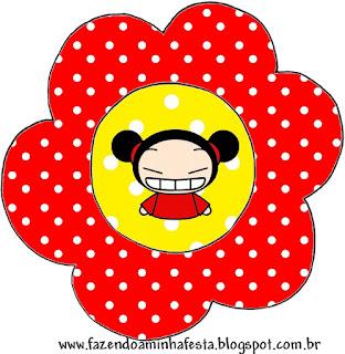 Tarjeta con forma de flor de Pucca.