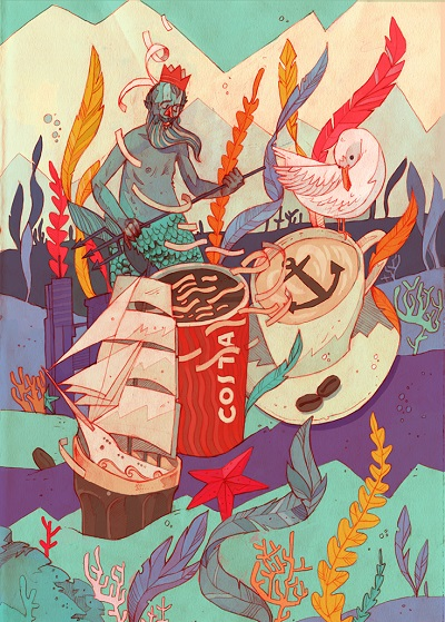 """Costa Coffe"" by Patryk Hardziej   creative illustration art drawings, cool stuff, pictures   imagenes chidas imaginativas, ilustraciones modernas"