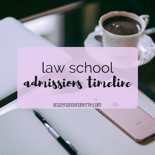 Law school admissions timeline. What to do your freshman year of college to prepare for law school. What to do your sophomore year of college to prepare for law school. What to do your junior year of college to prepare for law school. What to do your senior year of college to prepare for law school. What year of college do you apply to law school? Do you take the LSAT before applying to law school? Law school application timeline through college. How to plan for law school as a freshman in college. How to plan for law school as a sophomore in college. How to plan for law school as a junior in college. How to plan for law school as a senior in college | brazenandbrunette.com