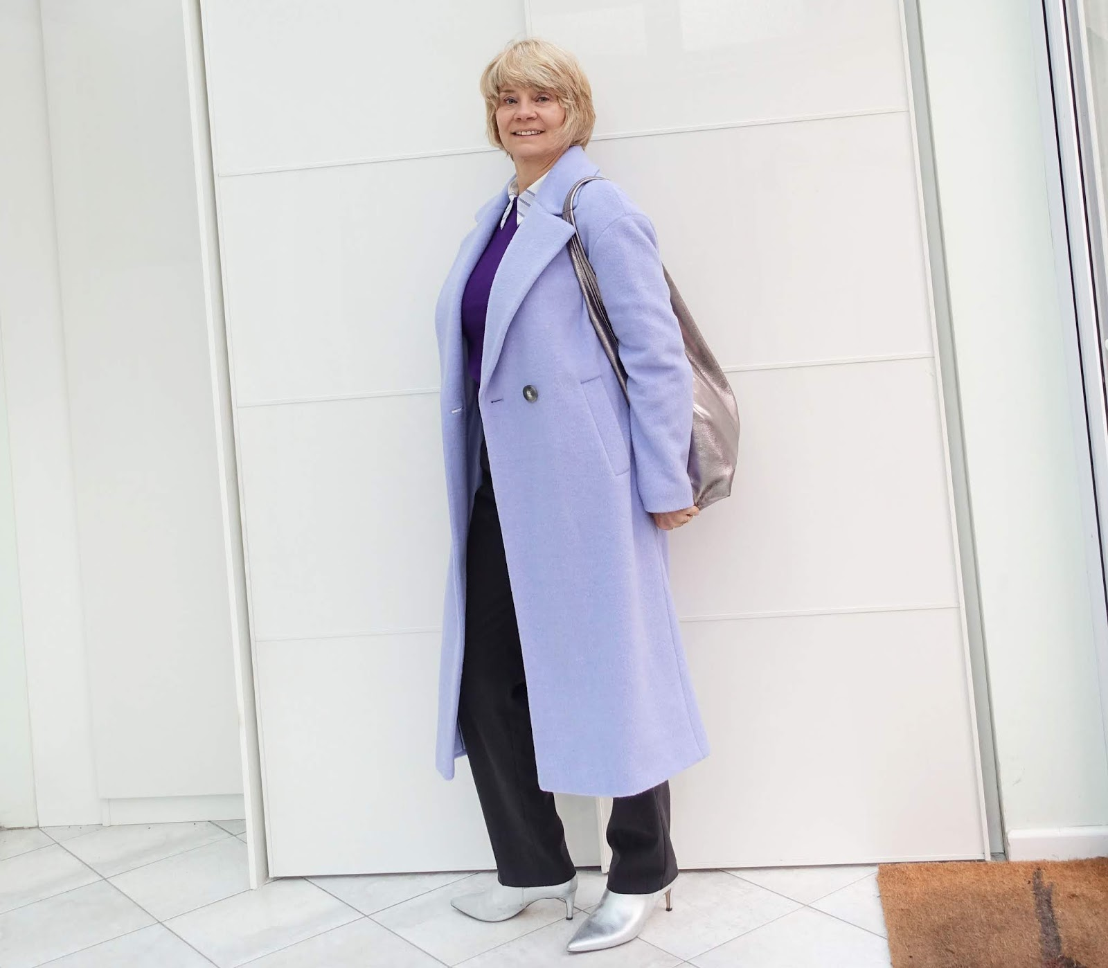 Fashion blogger Gail Hanlon in lilac cashmere coat