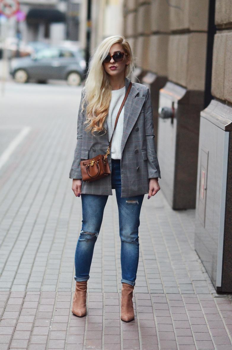 MARYNARKA W KRATKĘ + CAMELOWE DODATKI / checked blazer + camel boots and bag