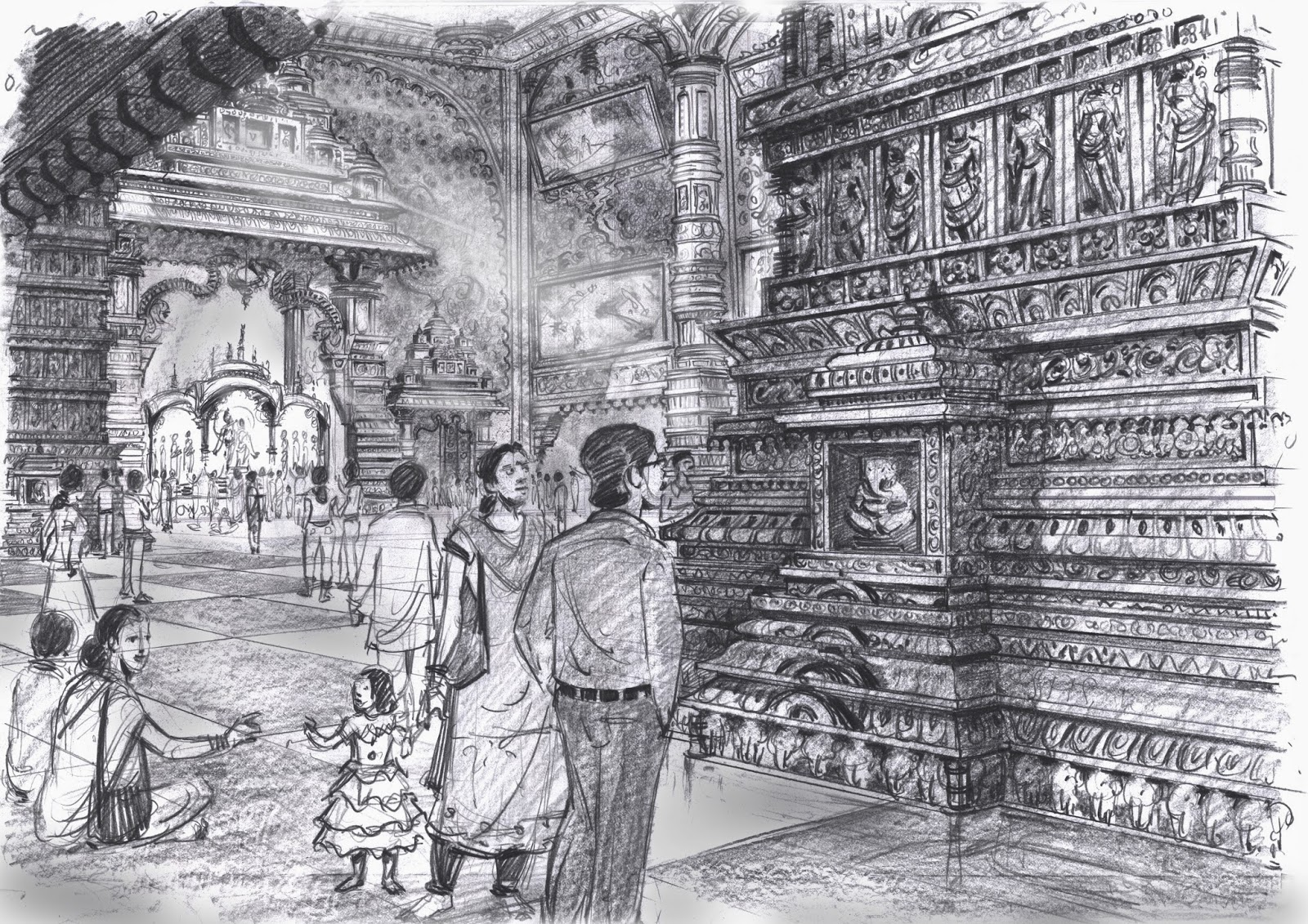 Pencil drawings for krishna theme park iskcon character and concept 2007 8