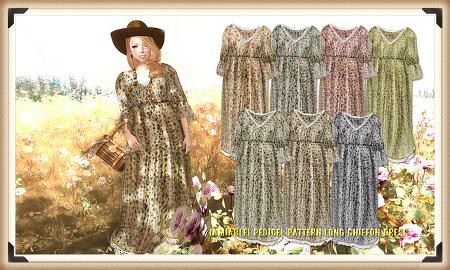 {amiable}Pedicel Pattern Long Chiffon Dress