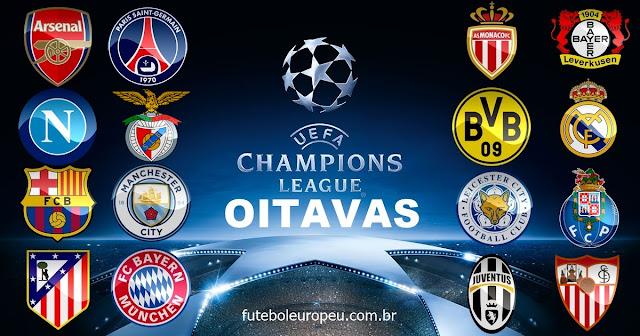 Sorteio das Oitavas de Final da Champions League - Potes, Horário e Data
