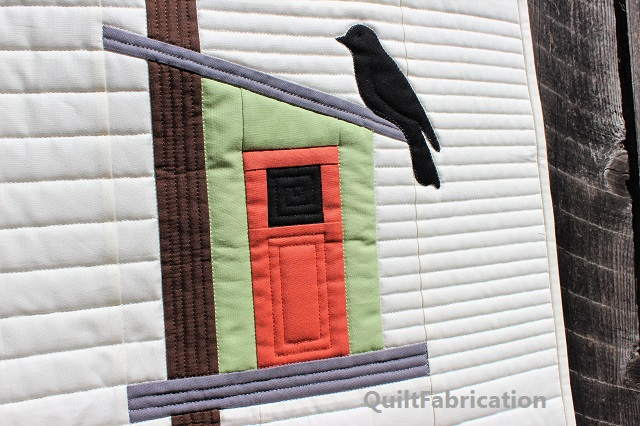 Kona Terra Cotta/Tarragon modern birdhouse by QuiltFabrication