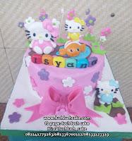 Hello Kitty Fondant Cake Kue Tart Ulang Tahun