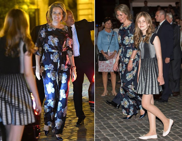 Queen Mathilde and Crown Princess Elisabeth of Belgium watched the fireworks display held for the Belgian National Day Festivities