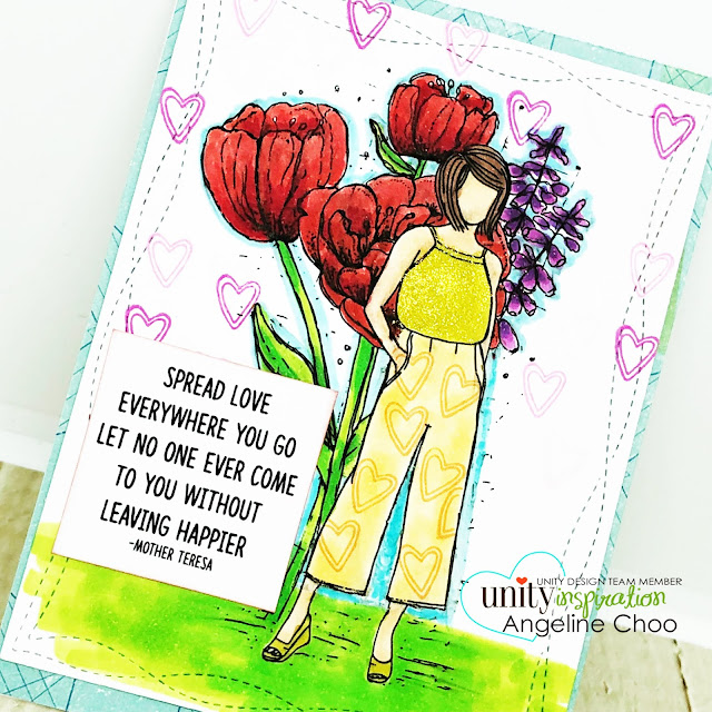 ScrappyScrappy: Red & Gold with Unity Stamp - Tulia Girl #scrappyscrappy #unitystampco #copicmarker #quicktipvideo #youtube #tulips #plannergirl #angiegirl #tuliagirl