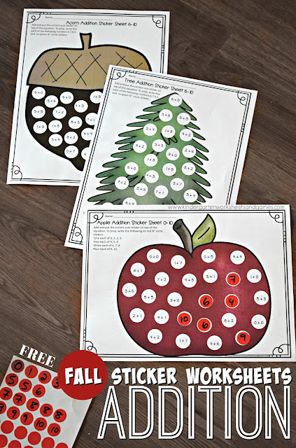FREE Fall Addition Worksheets using stickers! These math worksheets are so clever! These free printable preschool / kindergarten math worksheets help help kids practice addition within 10. Lots of different fun, fall themes and answer key included #fall #homeschool #education #preschool #kindergaten #addition #mathworksheets