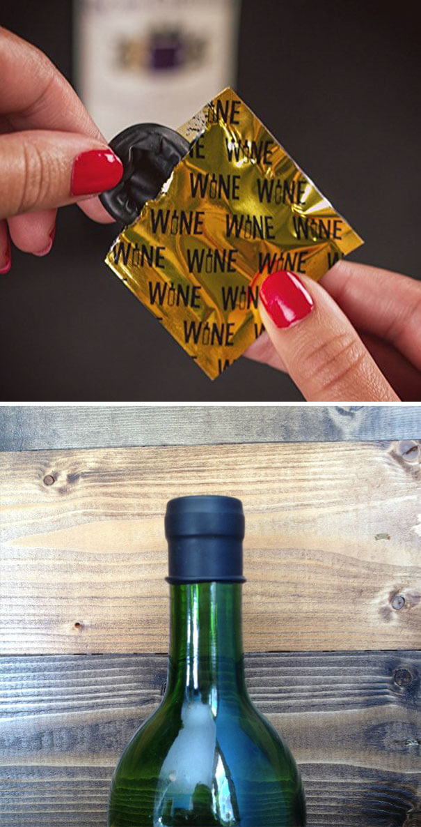 20 Innovative Food Inventions We Had Never Seen Before - Wine Condoms Which Help To Preserve Unfinished Bottle Of Wine