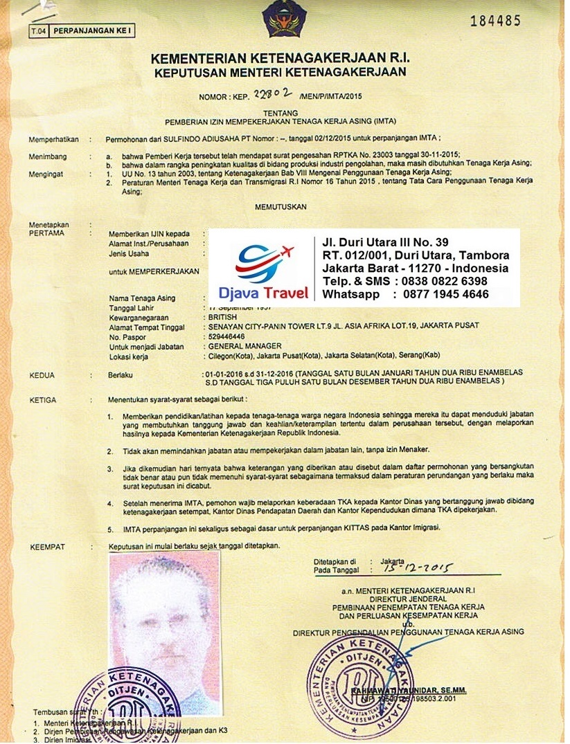 Djava Travel And Document Services: Kitas - Limited Stay Permit