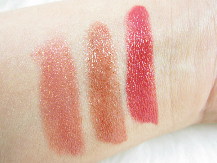 Swatches: AVON Ultra Color Lipstick - Golden Nude - Sparkling Bronze - Burnished Red