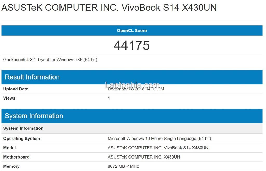 Benchmark Geekbench 4 Compute OpenCL Asus VivoBook S430UN