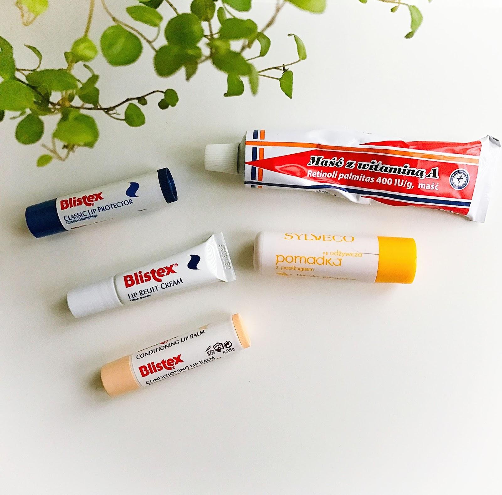 Produkty pielęgnacyjne do wrażliwych ust, Blistex Intensive Lip Relief, Blistex Classic, Blistex Daily Lip Care Conditioner, Maść z witaminą A, Odżywcza pomadka z peelingiem Sylveco,