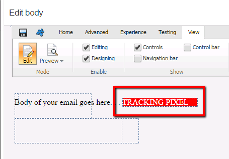 The Page Editor-only mode of the tracking pixel.