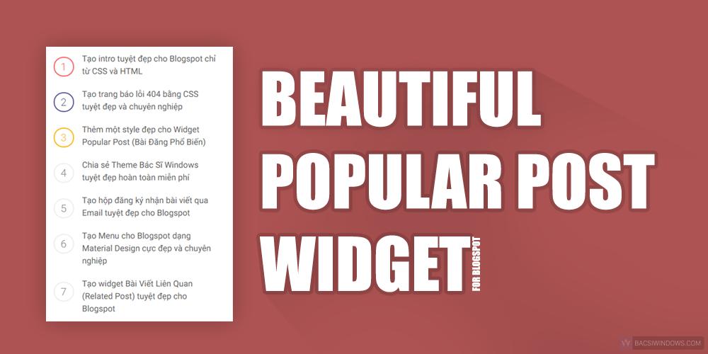 Tạo widget Popular Post tuyệt đẹp cho Blogspot có số đếm