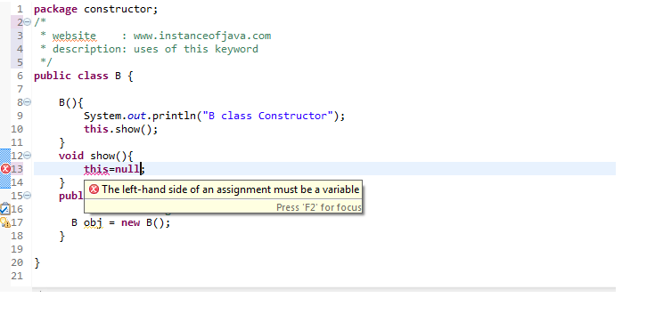 this keyword in java with example program