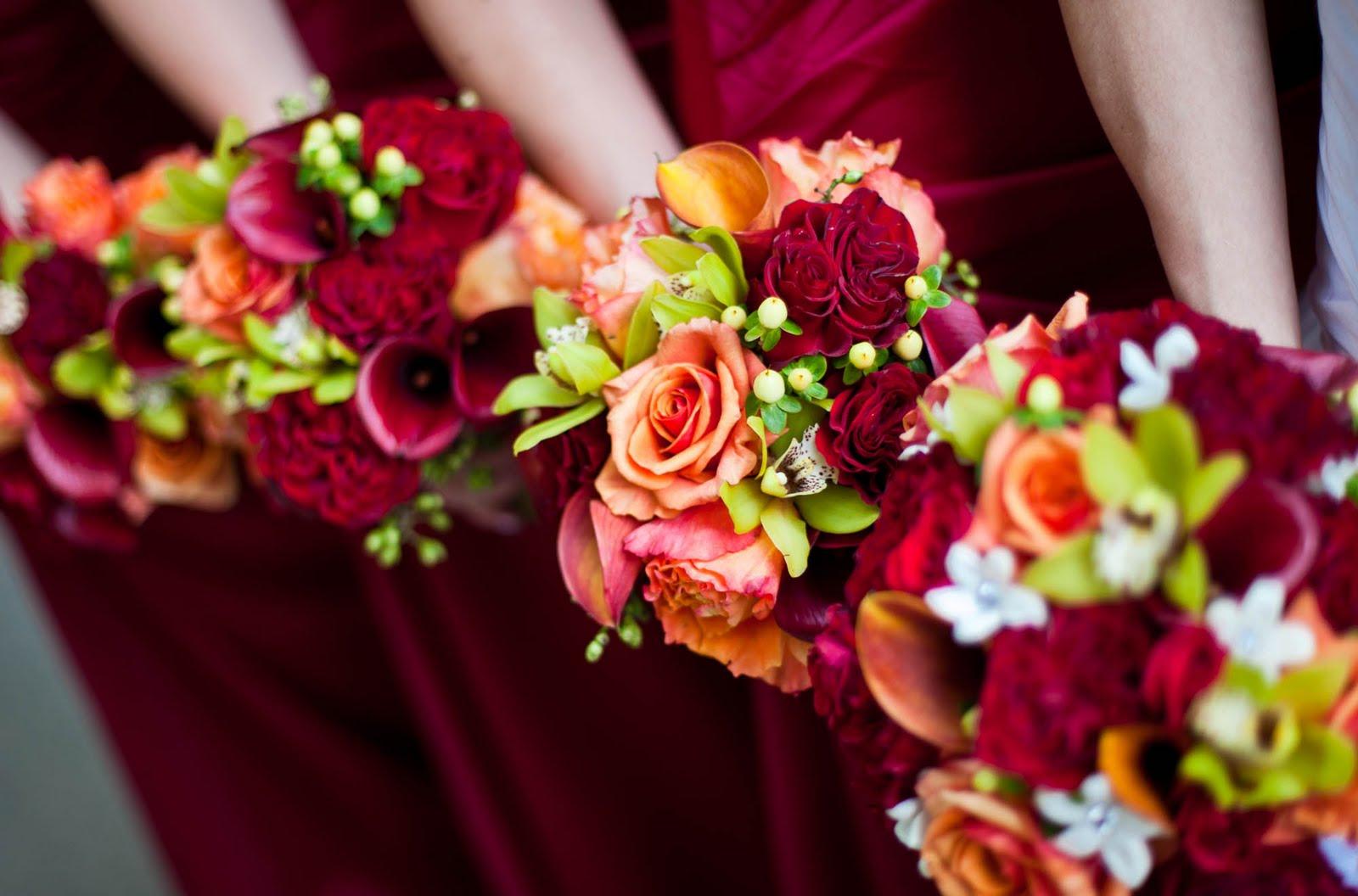""" I DO"" Flowers By Nanette: Burgandy And Orange Summer"