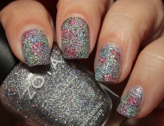 Zoya PixieDust nail polish art