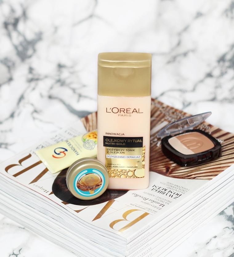 Pielęgnacja na jesień: L`Oreal Paris Nutri-Gold Olejkowy Rytuał Odżywczy tonik z olejkami + The Body Shop Wild Argan Masełko do ust