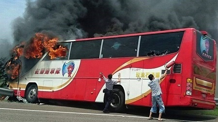 OMG!!!! Big Bus Bursts into Flames Killing all 26 Passengers on Board (Photo)