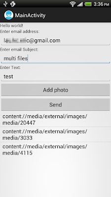 Start activity to send multi images attached