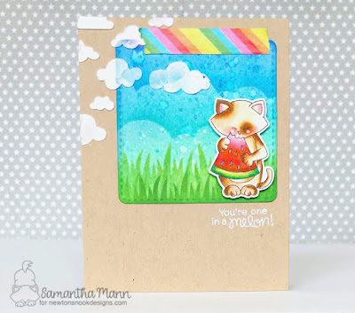 You're One in a Melon Card by Samantha Mann for Newton's Nook Designs, Handmade Cards, Distress Inks, Ink blending, Stencil, Kraft, #newtonsnook #card #summer #encouragement