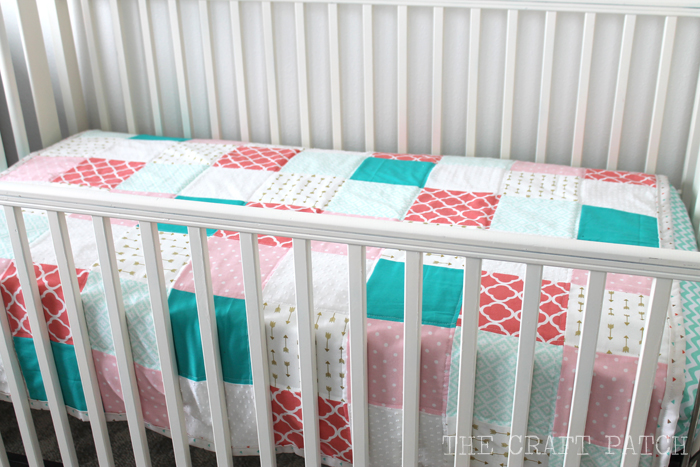 Coral, Aqua, Teal, White, Gold Baby Quilt