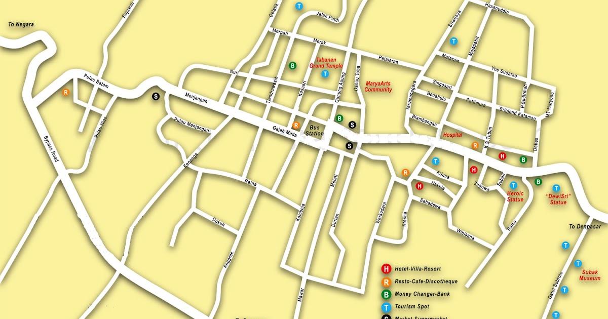 Peta Tabanan Bali Lengkap 10 Kecamatan - Sejarah Negara Com